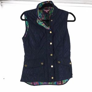 Lilly Pulitzer Diamond Quilted Navy Blue Vest Sz S